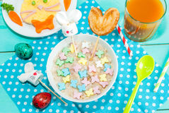Funny children`s Breakfast at Easter Royalty Free Stock Images