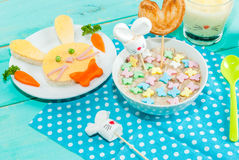 Funny children`s Breakfast at Easter Royalty Free Stock Photos