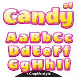 Funny children's candy letters set. Latin uppercase and lowercase Stock Image