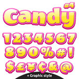 Funny children's candy letters set. Numbers and symbols. Vector funny children's candy font set in cartoon style of numbers and special symbols Royalty Free Stock Photography