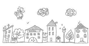 Funny children`s drawing of the street. Funny children`s drawing of the street with small cute houses. Hand drawn sketch in doodle style royalty free illustration