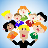 Funny children sing in the choir at the festival. Conductor runs children's choir. Children's Choir. Beautiful children with melodious voices. Singing for a Royalty Free Stock Images