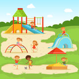 Funny children at summer playground. Kids playing in park. Vector illustration. Cartoon playground in park with happy children Royalty Free Stock Photos