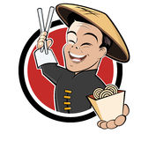 Funny Chinese Food Cartoon Royalty Free Stock Photo