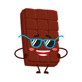 Funny chocolate bar character in funky sunglasses, with arms akimbo Royalty Free Stock Photos