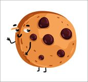 Funny chocolate chip cookie cartoon character. Cute chocolate chip cookie cartoon character isolated on white background vector illustration. Funny positive vector illustration