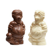 Funny chocolate figures of potbellied men Royalty Free Stock Photo