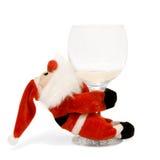 Funny christmas. Santa funny with wine, christmas Stock Photo