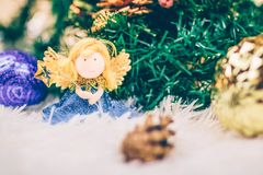 Funny christmas angel toy. stock images