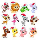Funny Christmas animals Royalty Free Stock Image
