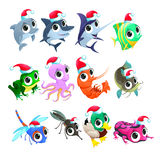 Funny Christmas animals. Vector isolated elements Royalty Free Stock Images
