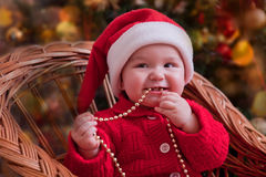 Funny Christmas baby portrait Stock Photography