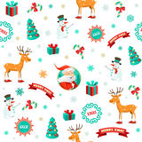 Funny Christmas background. Funny Xmas background. Christmas vector pattern stock illustration