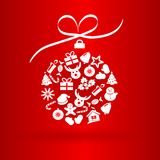 Funny christmas ball with icons Stock Photo