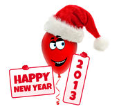 Funny christmas balloon with hat. Happy new year 2. Cartoon christmas character holding frames with Happy new year 2013 Stock Images