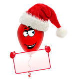 Funny christmas balloon with hat. Holding frame. Royalty Free Stock Photography