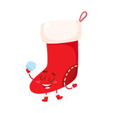 Funny Christmas boot, stocking character Royalty Free Stock Photo