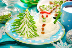 Funny christmas breakfast for child Royalty Free Stock Photo