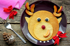 Funny Christmas breakfast of pancakes Royalty Free Stock Photo