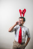 Funny christmas business man Stock Photos