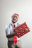 Funny christmas business man Royalty Free Stock Photo