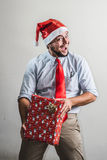 Funny christmas business man Royalty Free Stock Photography