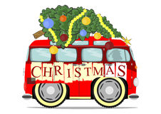 Funny christmas car Stock Images