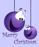 Funny christmas card. With cartoon balls Stock Images