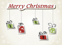 Funny Christmas card. Christmas card with greetings and gifts Royalty Free Stock Photography