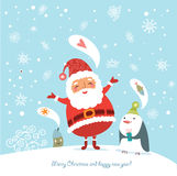 Funny Christmas card with Santa. Christmas card with a funny Santa and other characters Royalty Free Stock Photography