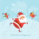 Funny Christmas card with Santa. Christmas card with a funny Santa and other characters Stock Photo