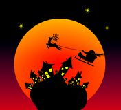 Funny christmas card. Santa claus is flying over funny houses while the sun sets Vector Illustration