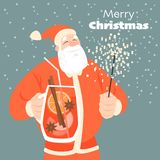 Funny Christmas card with Santa drinking mulled wine. stock illustration
