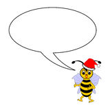 A funny Christmas cartoon bee with a talking bubbl Royalty Free Stock Photos