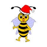 A funny Christmas cartoon bee Stock Photo