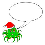 A funny Christmas cartoon octopus with a talking b Royalty Free Stock Images