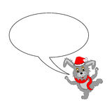A funny Christmas cartoon rabbit with a speech bubble Royalty Free Stock Images