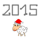 A funny Christmas cartoon sheep Stock Photography