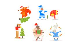 Funny Christmas characters for winter Holiday design, New year and Christmas collection vector Illustration. Isolated on a white background royalty free illustration