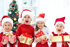 Funny christmas company royalty free stock photography
