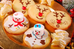 Funny christmas cookies made by kids Royalty Free Stock Image