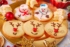 Funny christmas cookies made by kids Stock Image