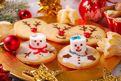 Funny christmas cookies made by kids Royalty Free Stock Images