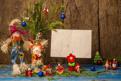 Funny Christmas decoration card.Copyspace Royalty Free Stock Photos