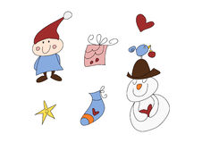 Funny christmas doodle set Royalty Free Stock Photography