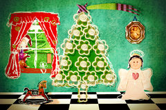 Funny Christmas Eve at home, postcard Stock Photo