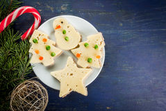 Funny Christmas food for kids Royalty Free Stock Images