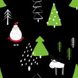 Funny Christmas Forest Seamless Pattern. Colorful funny Christmas seamless pattern with Santa Claus, deer and trees. Hand drawn grunge brush winter forest Royalty Free Stock Photo