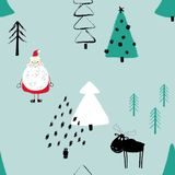 Funny Christmas Forest Seamless Pattern. Colorful funny Christmas seamless pattern with Santa Claus, deer and trees. Hand drawn grunge brush winter forest Royalty Free Stock Photography