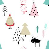 Funny Christmas Forest Seamless Pattern. Funny Christmas seamless pattern with Santa Claus, deer and trees. Hand drawn grunge brush winter forest background Stock Photos